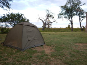 Safari tent with its external window covers.