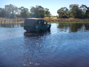 An impressive amphibious vehicle, stuck in the mud